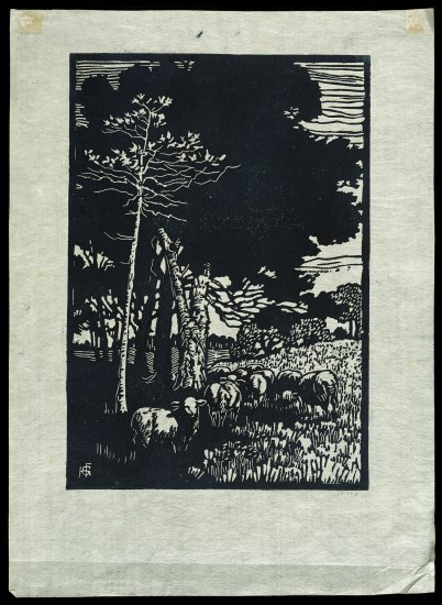 Black and white block print showing livestock, grass, trees.