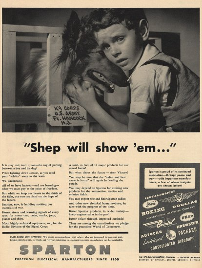 Black and white ad for Sparton manufacturers. Photo of young boy cuddling his face against a Lassie-type dog. The boy's eyes look worried.