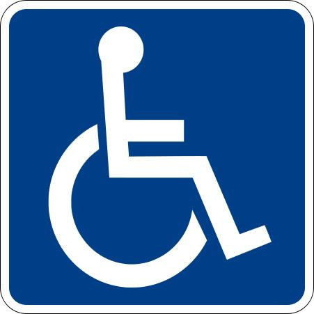 Blue and white symbol, person in wheelchair