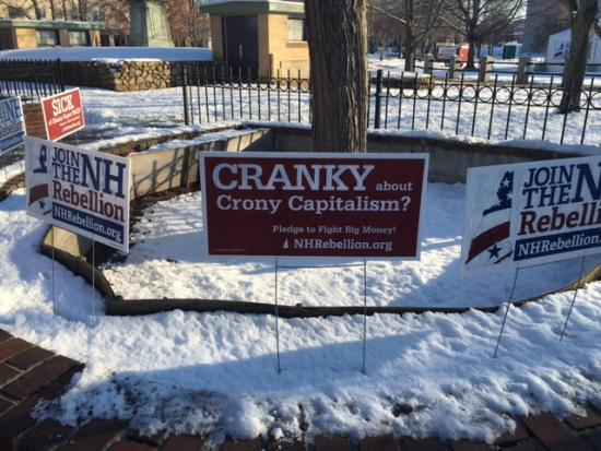 "Photo of a snowy brick area with a tree growing in the middle. Signs say ""Join the NH Rebellion"" and ""Cranky about Crony Capitalism?"""