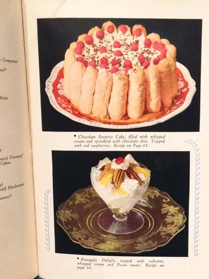"Illustrations of desserts in the ""Silent Hostess"" book"