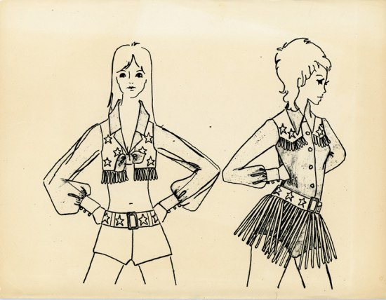Hand-drawn sketch of two women wearing variations of what would become the standard Dallas Cowboys Cheerleaders uniform