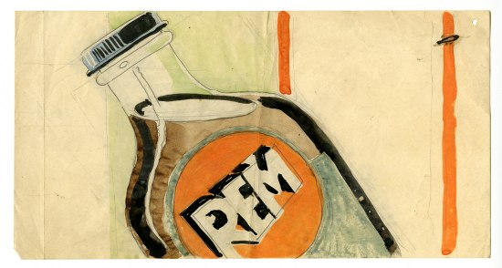 A pencil and watercolor sketch depicting a bottle of REM cough syrup