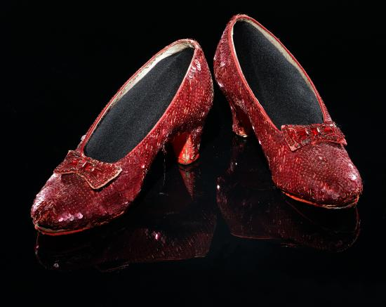 Ruby slippers, bow on front, heel in back, sequins galore