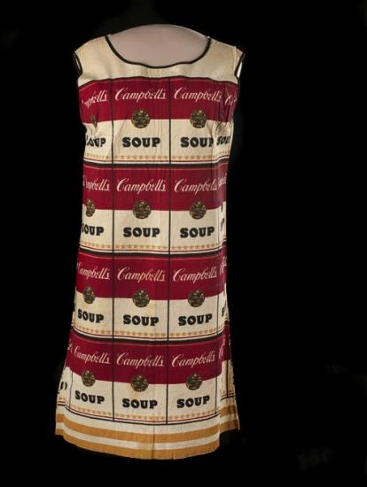 Short-sleeved dress with red and white Campbell's soup can labels all over it