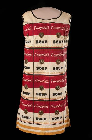 Photo of dress with red and white pattern of Campbell's soup labels.