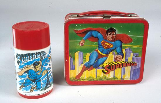 Photo of lunch box and Thermos with Superman imagery