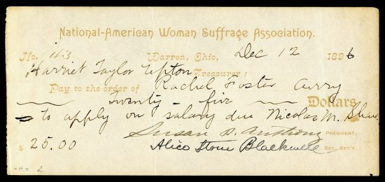 An old check that reads National-American Woman Suffrage Association and is covered with scrawled cursive script, moslty women's names