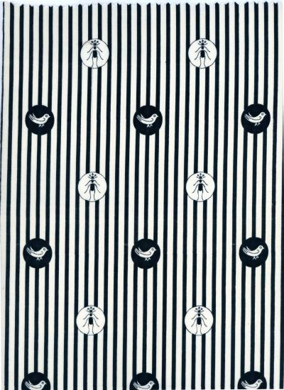 Black and white design with birds and ants and stripes