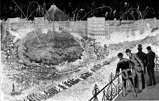 Black and white illustration. Four men on a balcony peer down to watch a massive parade taking place on the street below. Tall buildings and fireworks in the background. Hundreds of people march in orderly formation holding signs and flags that are not clearly readable from this angle. Many more people watch the parade. They march past a park and what appears to be a tent or bandstand.
