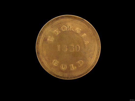 "Gold coin with text ""Georgia Gold 1830"""