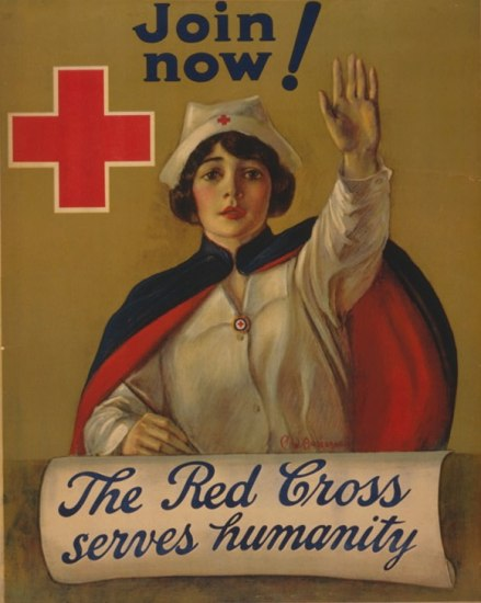 "A poster on which a woman wearing a white uniform with a dark blue cape raises her hand toward the viewer. Over the ledge in front of her, some kind of cloth is draped over, saying ""The Red Cross serves humanity."" It also says ""Join Now!"" at the top and there is a bright red, square cross by her head."