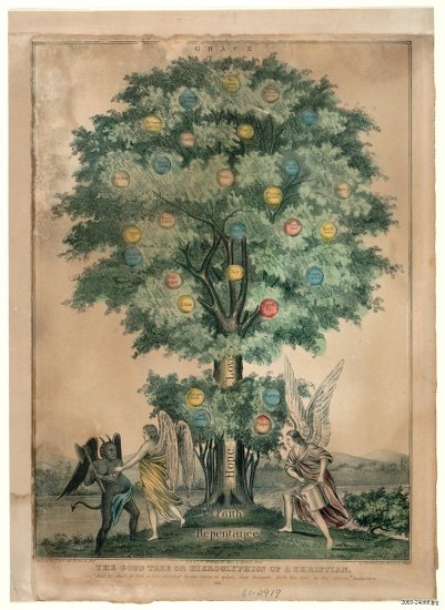 "Illustration of a tall tree with green leaves. Colored balls or fruits on the tree contain text such as ""prayer."" Below the tree, near the trunk, two angels in robes with white wings battle a demon with black wings and horns. One of the angels waters the tree. The tree's trunk says ""Hope, Love, Faith, Repentance."""