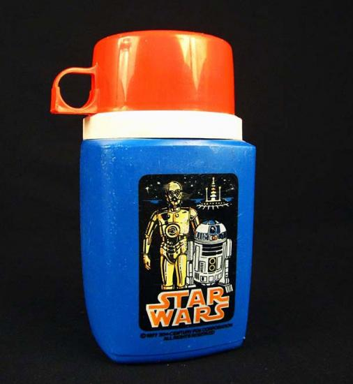 Photo of thermos with blue bottle and red top and sticker with Star Wars characters