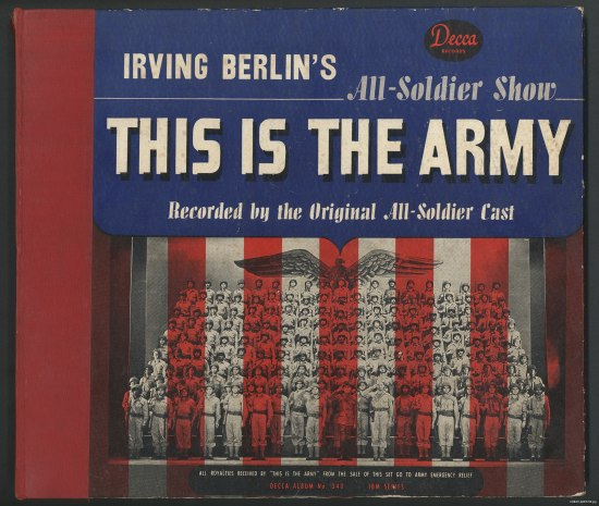 Album cover with black-and-white photo of soldiers with red and white patriotic stripes over them, graphically.