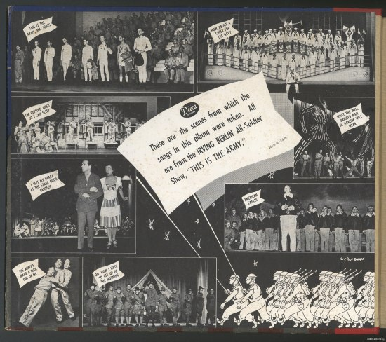 "Eight black-and-white photos of men singing, performing, and posing. Text: ""These are the scenes from which the songs in this album were taken. All are from the IRVING BERLIN All-Soldier Show, 'This is the Army.'"""