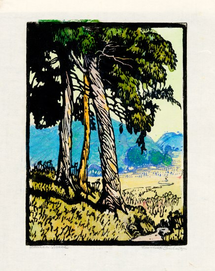 Color block print with three trees, blue mountains, green grass