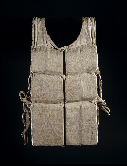 Canvas-colored life vest with ties on each side