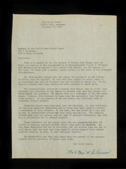 Photo of letter with six paragraphs