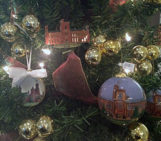 Holiday tree with Smithsonian Castle ornament