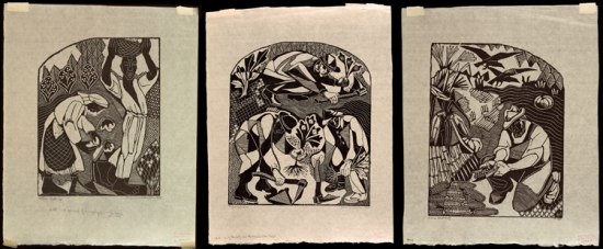 Three woodcuts arranged in a series