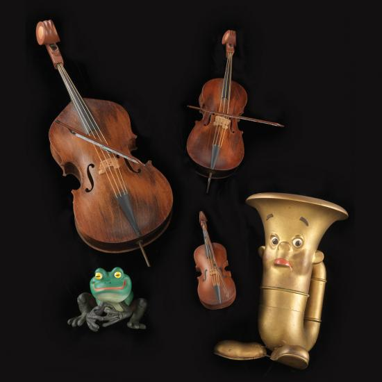 Tubby the Tuba puppet and frog with violins
