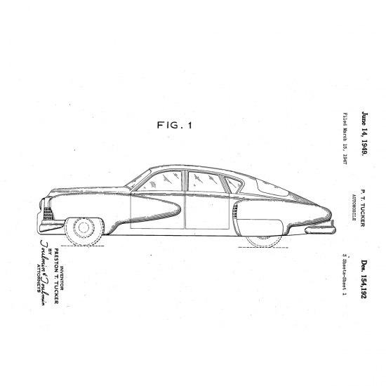 Sketch of the Tucker sedan included in Preston Tucker's 1949 patent.