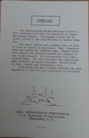 """Page 1 from a booklet. Title: """"Turkey Talk."""" The text appears type written. There is a simple illustration of a hot, cooked turkey. Text begins: """"The Harrisonburg Turkey Festival honors a fine flavored bird long the favorite of American dinner tables..."""""""