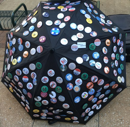 Umbrella covered with buttons