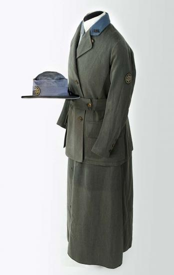 Grey-green uniform with collared jacket, skirt, hat