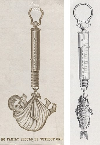 Two images are juxtaposed. On the left, a smiling infant looks out from a cloth hammock that is attached to a rod with a spring in it and numbers running along it. There is a hook on the end which a phantom hand holds up. On the right, the same tool holds a fish, attached by the mouth.