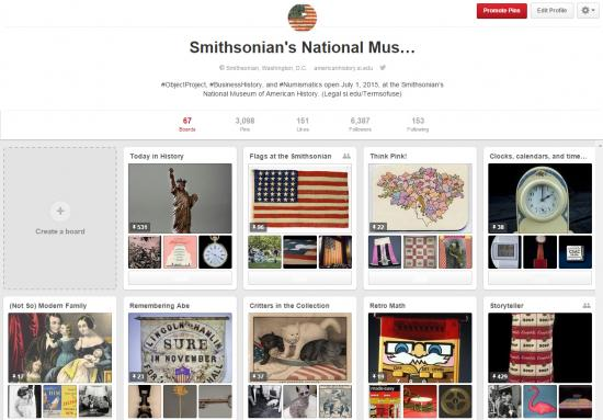 "Screenshot of the museum's Pinterest boards, including a ""Today in history"" board, ""Remembering Abe,"" ""Think Pink."""