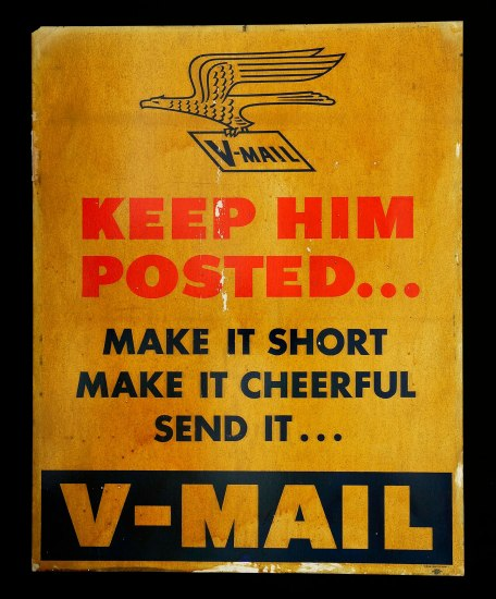 "Yellow poster with red text ""Keep him posted..."" with illustration of eagle and V-Mail"