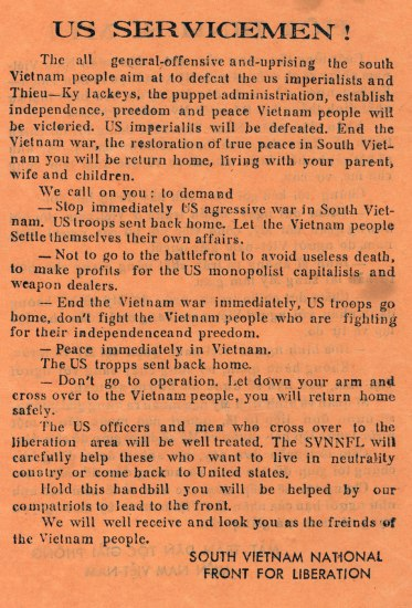 "Leaflet begins with phrase, ""US Servicemen!"""