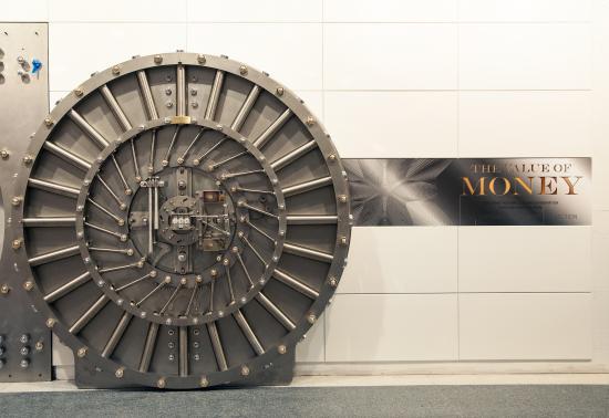 The vault door after installation & 1.5 ton vault door to greet visitors in the new Gallery of ...