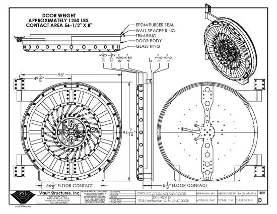 Technical drawing of round vault door with measurements and views from different angles