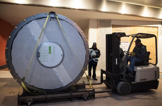 View of the round vault door passing by on a forklift