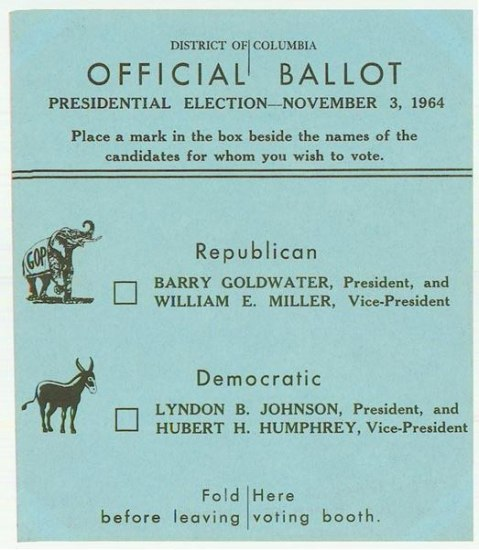 Voting ballot on light blue paper. Icon of elephant and donkey.