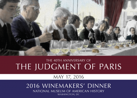 The Judgment of Paris text over an image of a wine tasting