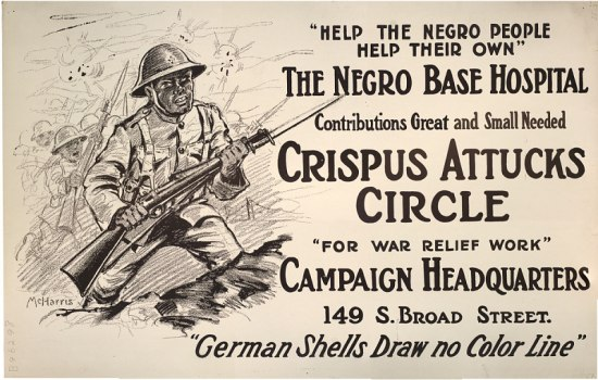 A poster featuring an African American man in combat, with advertisements for the Crispus Attucks Circle