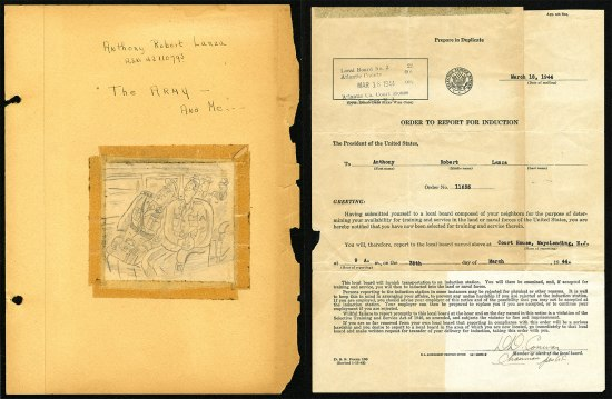 Juxtaposed pieces of paper. The left is yellow with some handwriting on it and a cartoon taped on of two military men. The edges are worn and the tape is yellowed. The right side is a typed letter on faded paper.