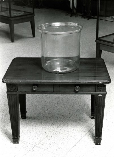 Black and white photo of a glass bowl on a wooden table. It has high walls with no curve and a wide opening on tap. Inside, a few small pill-shaped capsules.
