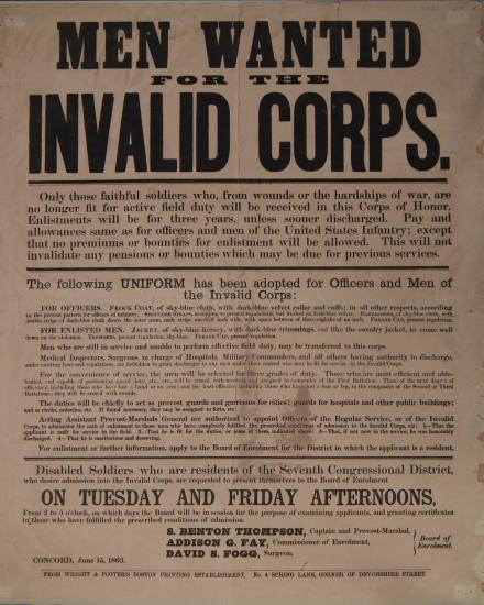 "Poster with headline in bold text: ""Men wanted for the invalid corps."" Then paragraphs of text including a description of the uniforms."