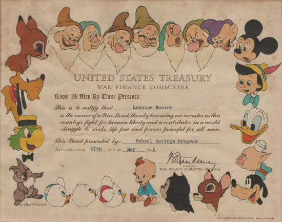 Bond featuring Disney characters, whose faces create a border around the document