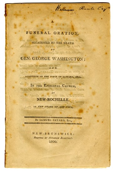 Printed booklet entitled: A Funeral Oration, Occasioned by the Death of Gen. George Washington