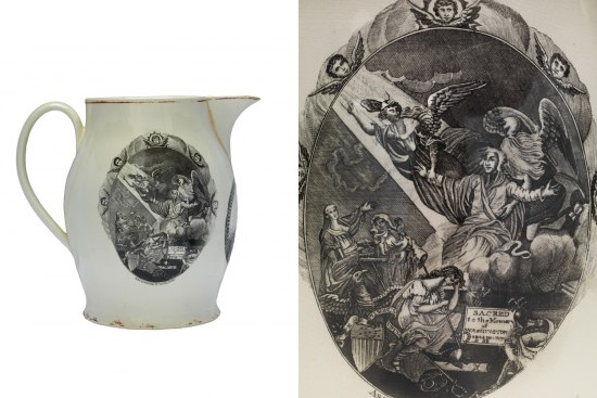 Collage of two images. The left image is the white creamware pitcher, which is decorated with printed images on various sides. The right image is a detailed shot of one of those transfer prints. It shows George Washington, seated on a cloud and clad in robes, ascending into heaven with the help of angels while various figures look on. A small plaque at the bottom of the scene reads: Sacred to the Memory of Washington.