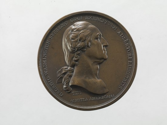 Coin with portrait of George Washington in profile