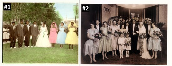 Two photos, side by side, of wedding parties. On the left, the group poses outside in the grass. On the right, the group poses inside with large bouquets.