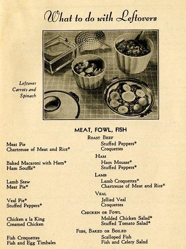 "Silent Hostess Cookbook, ""What to do with Leftovers,"" 1932"