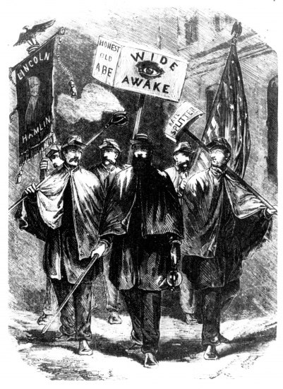 "Black and white illustration showing six young men wearing matching hats and uniforms (which include very draped capes and long sleeves and pants) and marching in the street with signs that say ""Lincoln Hamilton"" ""Honest Old Abe"" and ""Wide Awake."" One holds an american flag. One holds what appears to be a sword."